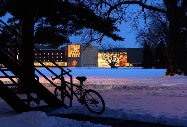 Joe Rosenfield '25 Center across Mac Field on a Winter's Night