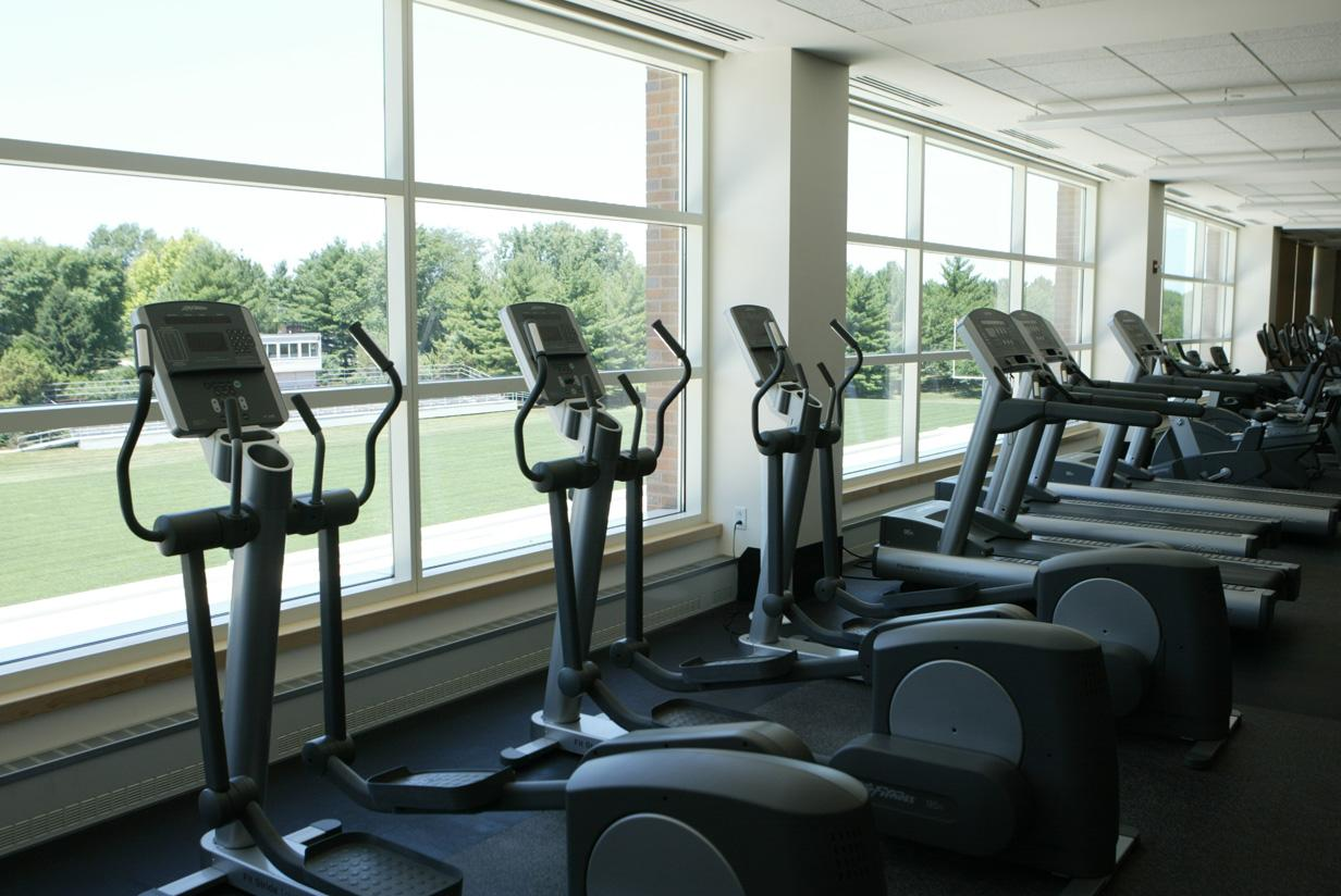 View of Rosenbloom Field from the treadmill area of the Fitness Center