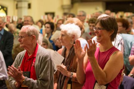 Grinnell alumni applaud alumni award winners in Herrick Chapel