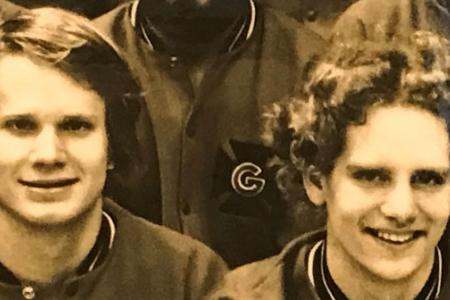 John Chambers and Doug Johnson on Grinnell College 1977 mens swim team