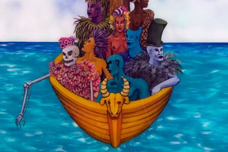 detail from Edouard Duval-Carrié La Traversée with a boat filled with various colored characters, including a skeleton dress in pinks