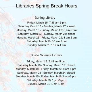 Don't forget that the Libraries have adjusted hours for Spring Break!