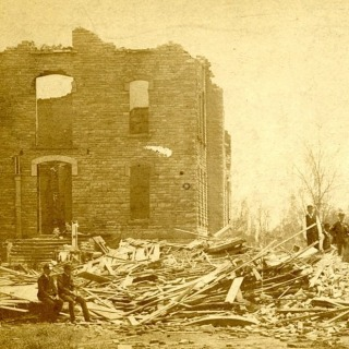 There's a new exhibit on the lower level of Burling! This exhibit about the Cyclone of 1882 explores campus as it was before the cyclone, the damage caused to campus and the town of Grinnell, and the rebuilding process.  #grinnellcollege #cyclone #tornado #grinnellhistory #grinnelliowa