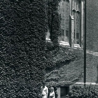 #tbt Two students walk beneath an ivy-covered Quad Dining Hall in September of 1983. This photo was taken by Jack Robertson. If you recognize these two, share that information in the comments!  #grinnellalumni #grinnellcollege
