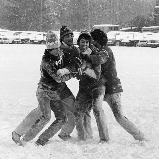 #tbt This snowy photograph was taken in the 1970s, but we don't have any identifying information for the students. Can you help us out? Share any names and class years you know in the comments!  #snow #winter #grinnellcollege #grinnellalumni