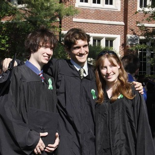 #tbt Commencement is just a few days away! Do you recognize the students in this photo from the 2010 commencement? Let us know in the comments!  #grinnellcollege #grinnellalumni