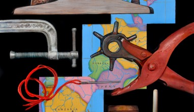 painting of tools: plane, gavel, vice, and maps