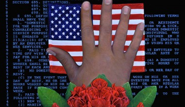 Painting flowers, hand, and American flag on a background of a labor standards document