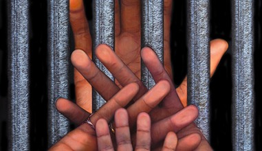 painting of prison bars with one set of hands behind the bars and three different sized hands in front