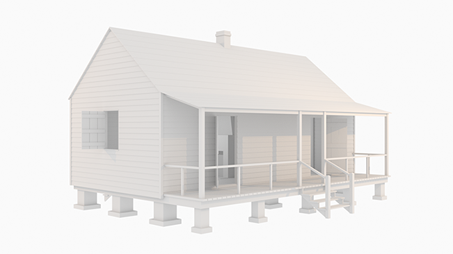 rendering of 19th century plantation slave cabin