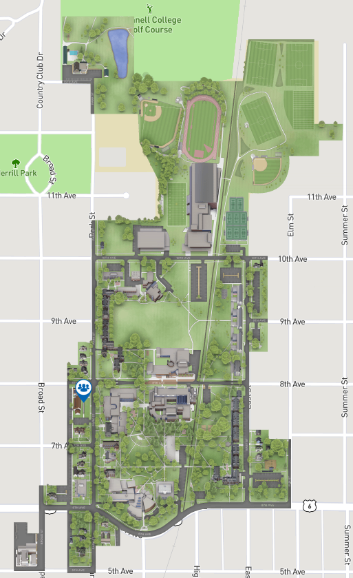 Map of Grinnell College Main Campus
