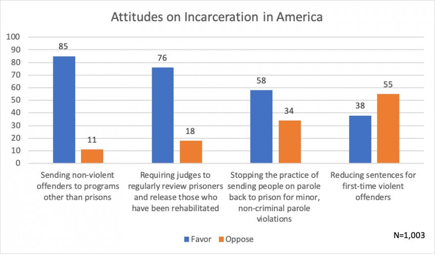 Chart of percentage of particants responding in favor or opposed to the four incarcertion questions described in news article