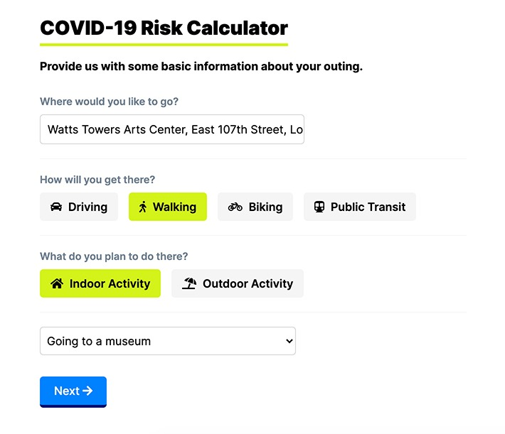 Screenshot of a COVID-19 risk calculator website