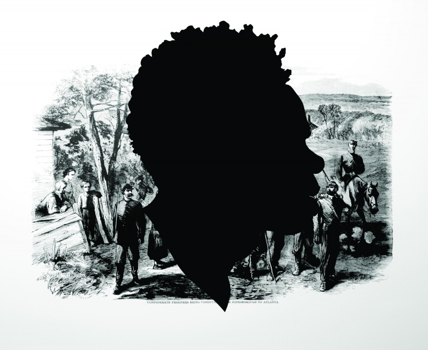 Silhouhette of a Black person's profile laid over a monorchome image of prisoners