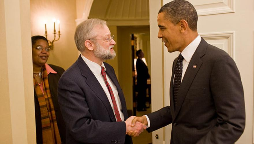 Jim Swartz shakes hands with President Obama