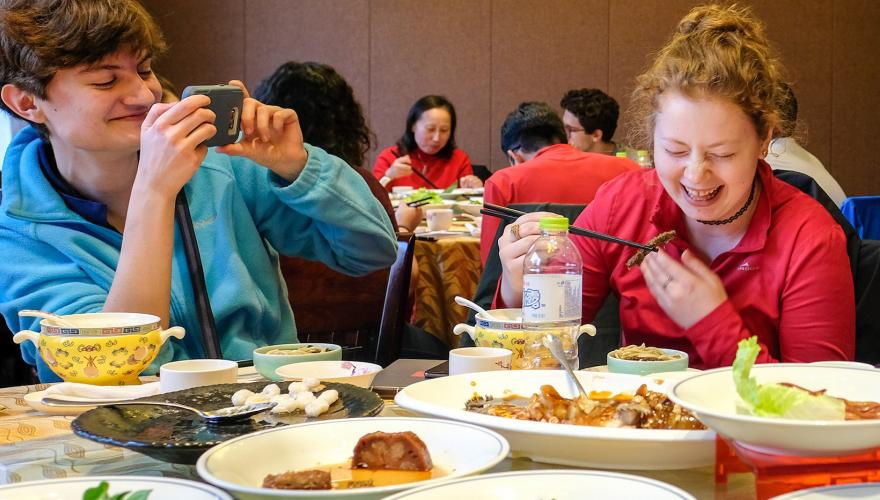 Grinnell students in China enjoying local foods