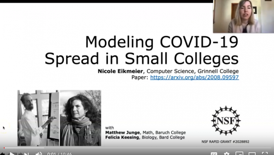 "Still from video presentation ""Modeling COVID-19 Spread in Small Colleges"" by Nicole Eichmeier"