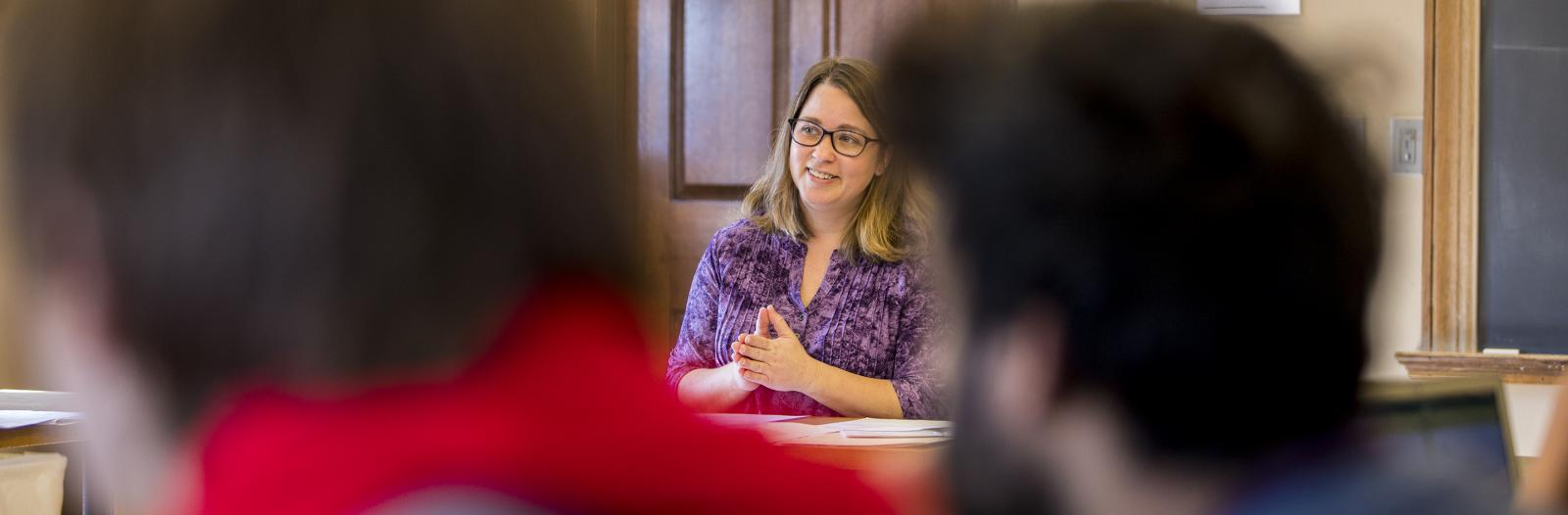 Tammy Nyden, Associate Professor of Philosophy, teaches a class in Steiner Hall
