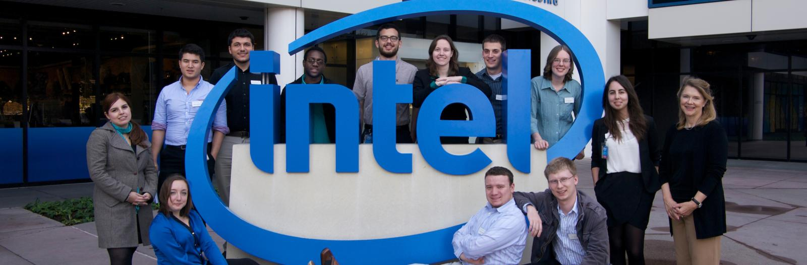 Students at the Intel corporate office