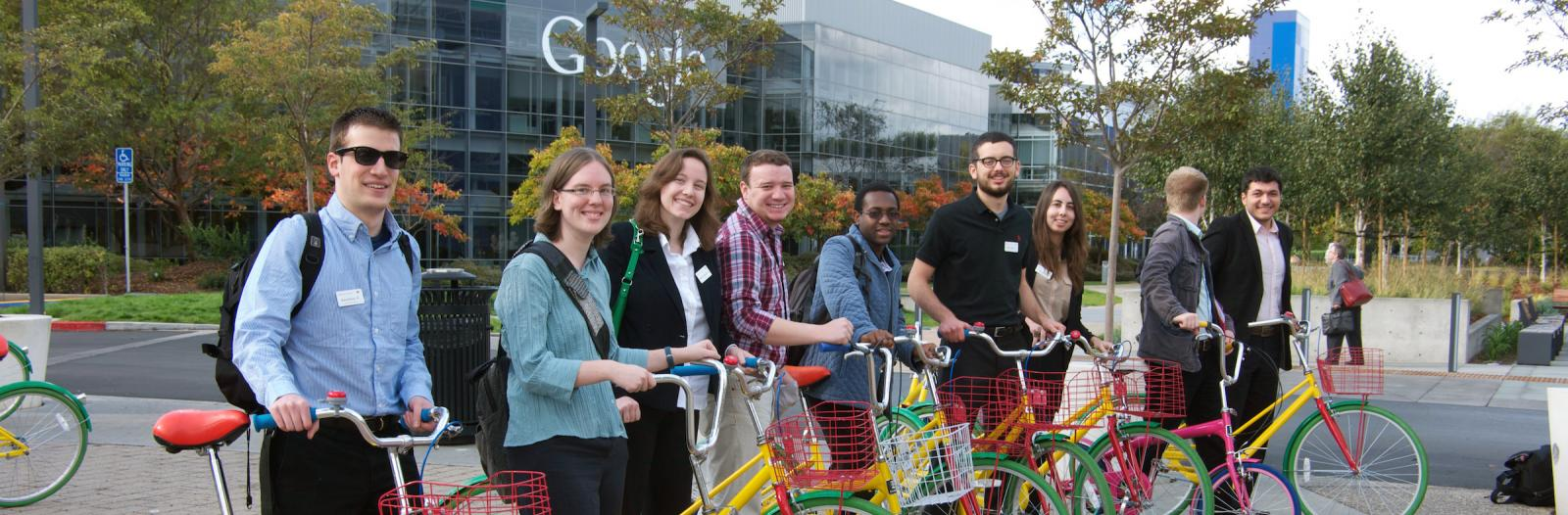 students with bikes at Google corporate headquarters
