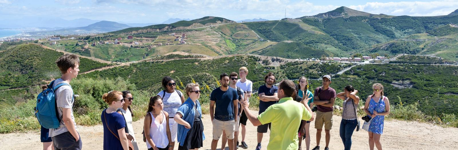Students and instructor on the border of Morocco