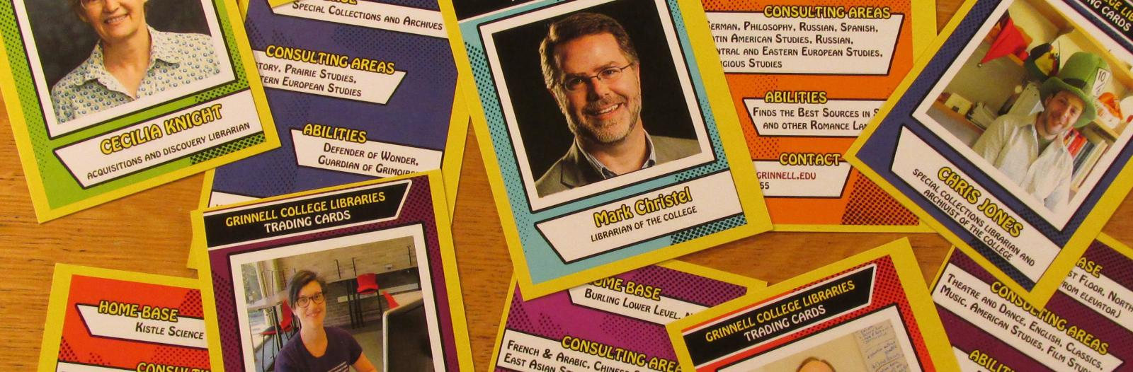 Librarian trading cards featuring Cecilia Knight, Mark Christel, Chris Jones, Liz Rodrigues, and Keven Engel