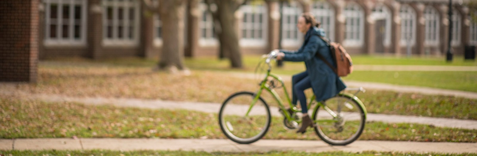 student on bike in south campus with autumn leaves