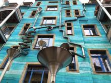 Blue house with rain pipes in Dresden, Germany