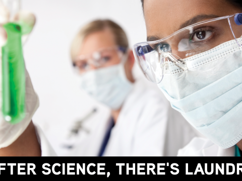 After science, there's laundry: image of scientist in lab wear looking at test tube