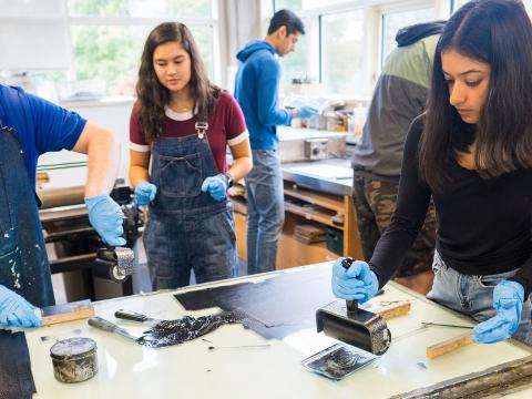 Students experiment with print making