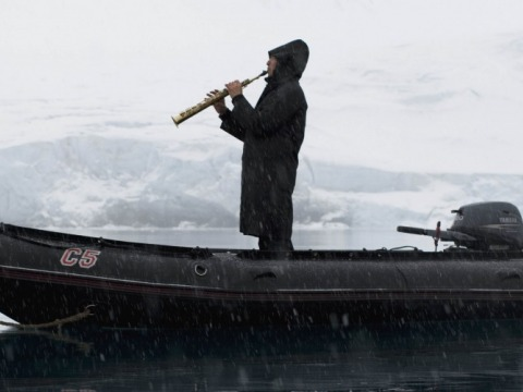 David Rothenberg playing his clarinet for whales near Hawaii