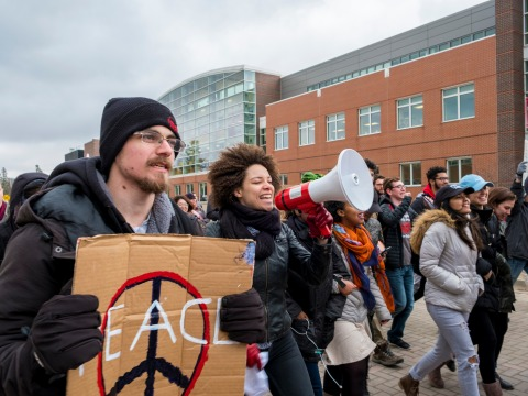 College students march in a political protest