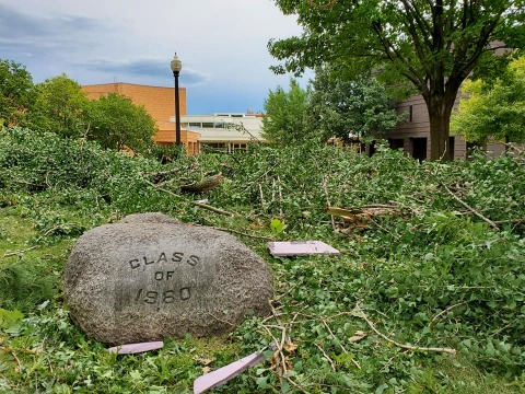 tree limbs and storm debris around the Class of 1980 rock in central campus
