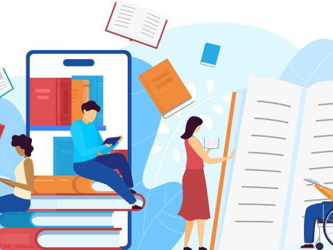 Conceptual illustration showing a smart phone used for remote learning and a large book in the background