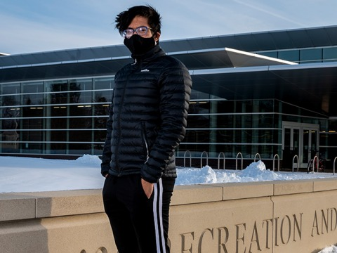Vidush Goswami outside the Bear Athletic and Recreation Center in winter