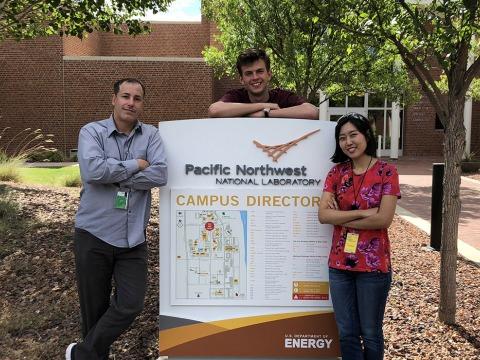Hernandez, Hewitt, and Paek on the PNNL campus.