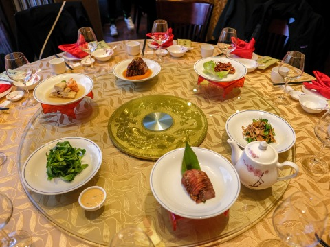 Table set for a meal at a restaurant in China