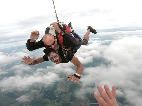 Shrey Agrawal skydiving in Brooklyn, Iowa
