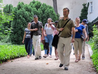 Faculty leading students on a study abroad program