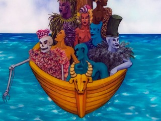 An artwork of seven colorful humans, a skeleton, and a tree crossing the ocean in a small golden boat