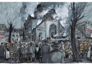 Barbara Yelin artwork of burning church