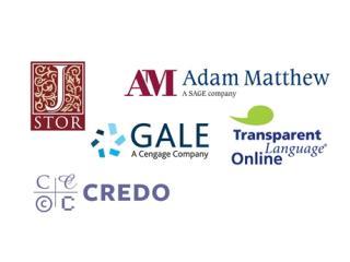 Library databases JSTOR Adam Matthew Gale Credo Transparent Language