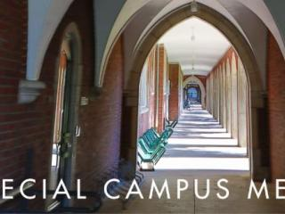 Image of loggia with text: Special Campus Memo