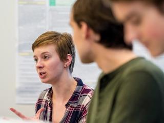 Female student speaks in class