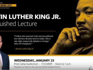 Poster promoting Raynard Kington speech at University of Iowa MLK event