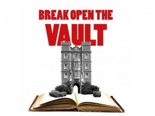 Break Open the Vault logo with Gates-Rawson tower on open book