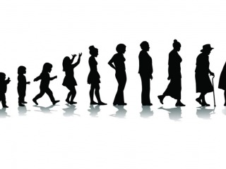silhouette of female at stages of life from toddler through old age