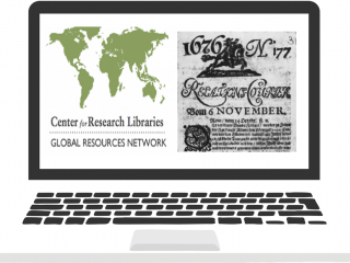 Illustration of computer with Center for Resource Libraries Global Resources Network logo