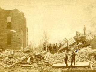 Photo of damage caused by 1882 cyclone in Grinnell