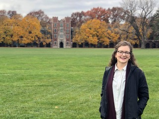 Emma Lange '16 in front of North Campus residence halls